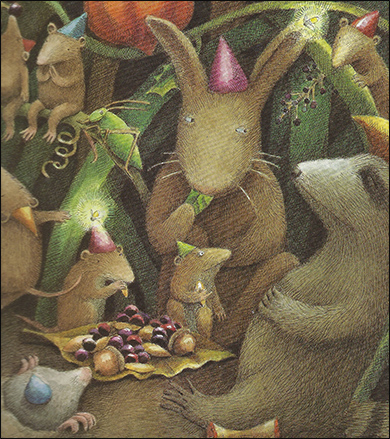 Forest animals having a party
